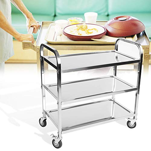 AYNEFY Beauty Rollwagen,Beauty Salon Wagen Küchenwagen Lagerwagen 3 Tier Clearing Trolley Large 900X850X450mm Catering Silber Sale