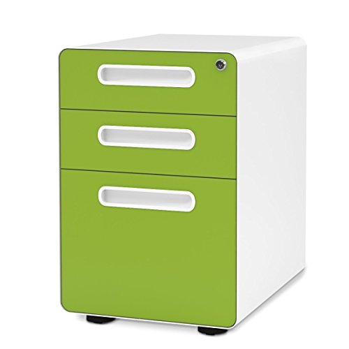DEVAISE 3-Drawer Metal Filing Cabinet with Anti-tilt Mechanism (A-grün)