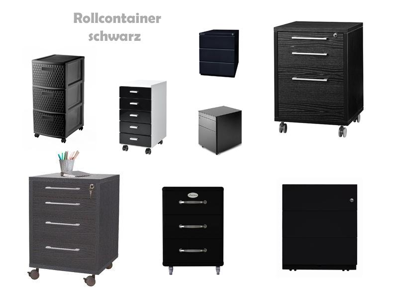 Rollcontainer metall schwarz  Rollcontainer schwarz hochglanz / matt